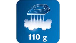 110g Dampfleistung glättet ohne Mühe auch hartnäckige Falten
