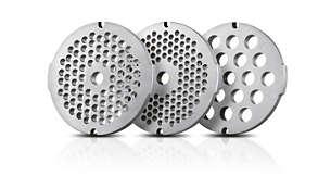 3 hygiejniske snitteskiver i rustfrit stål (3 mm, 5 mm og 8 mm)