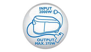 Motor od 2000 W koji stvara maks. 375 W usisne snage