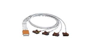 4-adr. Elek.kabel, Clip, abg. AAMI, OP EKG-Pat.kabel, Brust, Kopf orange