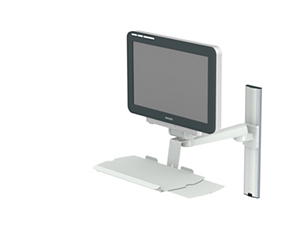 Single pivot arm (325mm) mounting options, with keyboard holder Mounting solution
