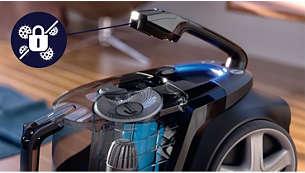 防过敏锁可将灰尘留在机内,确保高水平的卫生环境
