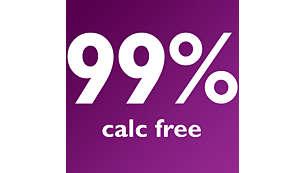 99% calc-free with PureSteam Anti-scale cartridge