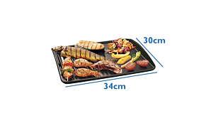 Duża powierzchnia do grillowania umożliwia przygotowanie porcji dla całej rodziny
