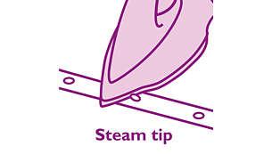 De stoomtip zorgt voor stoom op moeilijk te bereiken plaatsen