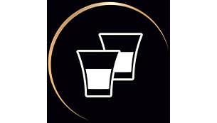 Préparez 2cafés à la fois ou 1café double dans une seule tasse