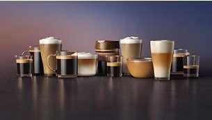 Geniet in een handomdraai van 12 koffievariaties, waaronder café au lait