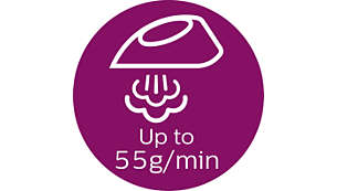 Konstant damp på op til 55 g/min sikrer hurtigere fjernelse af folder