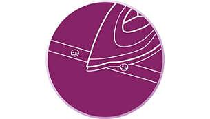 La pointe effilée facilite le repassage entre les boutons et le long des coutures