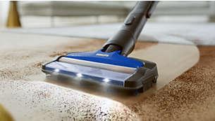 El cepillo de aspiración 360° captura hasta el 99,7% del polvo y la suciedad*
